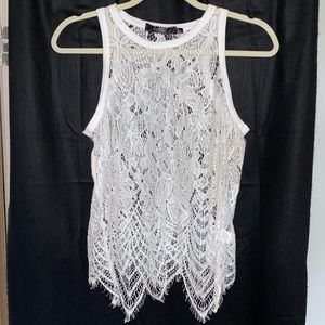 BKE White Lace Feathery Top Cover-up 🌴🌞